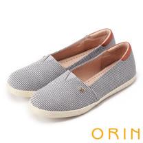ORIN 引出度假氣氛 性格條紋平底便鞋-灰色