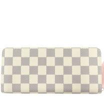 Louis Vuitton LV N61264 Clemence 白棋盤格紋拉鍊長夾_預購