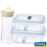 Glasslock強化玻璃分格微波保鮮盒-美食藏鮮3件組(分隔款)
