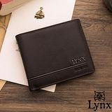 Lynx - 山貓簡約品味真皮款8卡1照短夾-咖