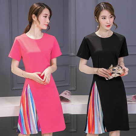 【韓國KW】夏裝短袖條紋拼接洋裝