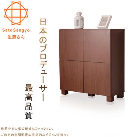 【Sato】FREA川久四門收納櫃‧幅72cm(胡桃木色)