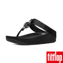FitFlop™-(女款) SUPERCHAIN™ LEATHER TOE-POST-黑色