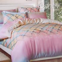 《KOSNEY 優雅格情》加大100%天絲全舖棉四件式兩用被冬包組