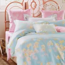 《KOSNEY 暖玉生香粉綠》特大100%天絲全舖棉四件式兩用被冬包組