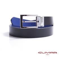 CUMAR 義大利牛皮-黑/藍雙面帶身-穿針式造型皮帶 0596-E02-05