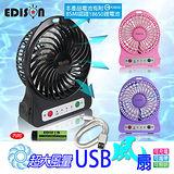 【EDISON】大風量LED照明圓形USB風扇2入 電池認證