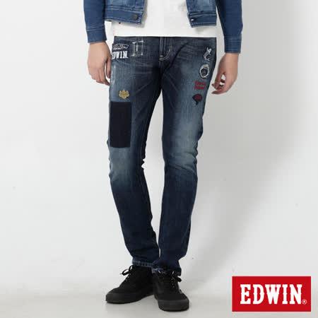EDWIN 江戶勝 小家徽AB牛仔褲-男-酵洗藍