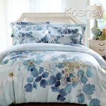 《KOSNEY 逆流時光藍》加大100%天絲全舖棉四件式兩用被冬包組