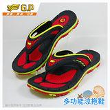 【G.P 時尚休閒夾腳拖鞋】G6896-14 黑紅色 (SIZE:36-43 共五色)