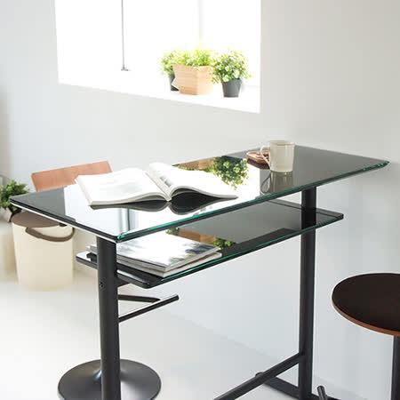 《Peachy life》雙層玻璃設計吧台桌/餐桌/書桌/工作桌(2色可選)