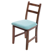 [自然行]- Reykjavik北歐木作椅(焦糖色)湖水藍椅墊