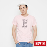 EDWIN 網路限定 海浪紋E字短袖T恤-男-淺粉紅