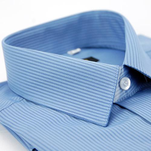~金安德森~藍色暗紋類絲質窄版長袖襯衫