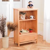 [自然行] 書櫃一抽-原木書櫃(溫暖柚木色)