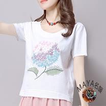 【Maya 名媛】L~XL短袖圓領精繡大花棉麻衫-白色