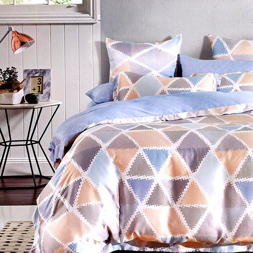 【情定巴黎】幾何 100%高密嫩柔天絲雙人四件式兩用被床包組