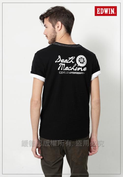 EDWIN 標語徽章短袖T恤-男-黑色