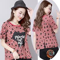 【Maya 名媛】M~2XL美式風格棉麻條紋短袖上衣-紅條紋
