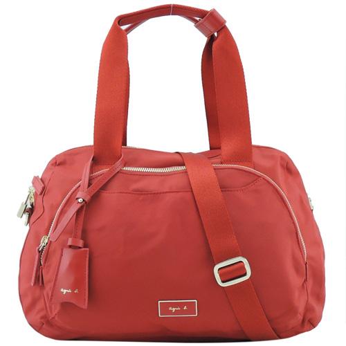 agnes b金屬框雙邊層旅行袋(小/紅)