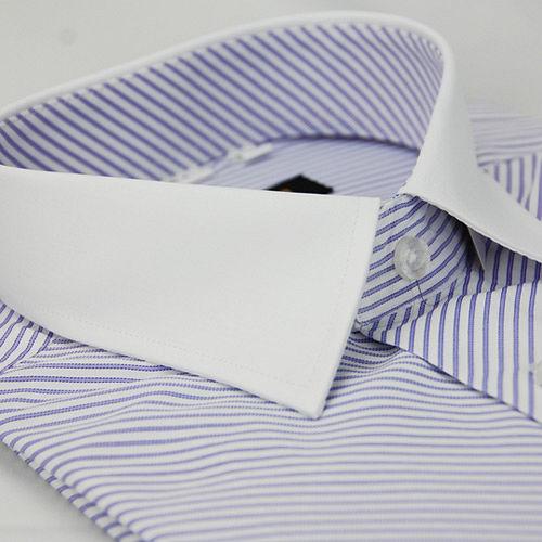 ~金安德森~紫色斜紋白領窄版短袖襯衫