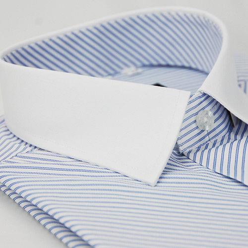 ~金安德森~藍色斜紋白領窄版短袖襯衫