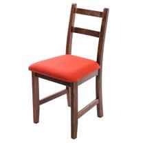[自然行]-Reykjavik北歐木作椅(焦糖色)橘紅色椅墊