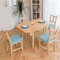 [自然行]-南法雙邊延伸實木餐桌椅組一桌四椅74x122公分/原木+湖水藍椅墊