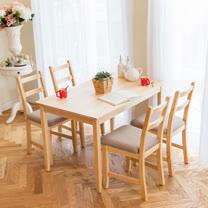 [自然行]-北歐實木餐桌椅組一桌四椅 74*118公分/原木+淺灰色椅墊