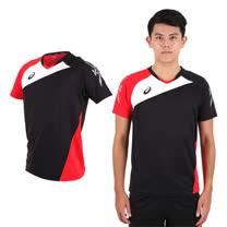 (男) ASICS 運動排汗短T恤 -慢跑 羽球 排球 黑紅白