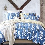 【情定巴黎】藍比爾菲100%精梳純棉加大四件式床包被套組