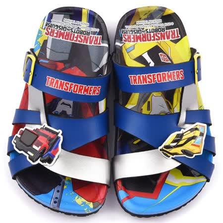 童鞋城堡-變形金剛 中童 不對稱軟木風格拖鞋TF10088-藍