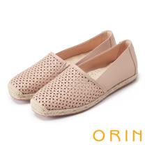 ORIN 引出度假氣氛 牛皮打洞花紋簍空平底便鞋-粉藕