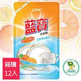 LION藍寶 洗碗精補充包800g-柑橙薄荷香X12入
