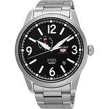 SEIKO 精工5號盾牌24石紳士風機械腕錶-黑/42mm 4R37-01D0D(SSA293J1)