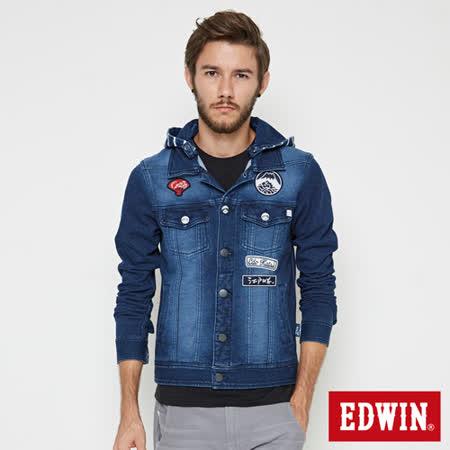 EDWIN 江戶勝 復刻長袖牛仔外套-男-石洗藍