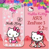 三麗鷗授權 Hello Kitty 凱蒂貓  ASUS ZenFone 3 5.2吋 ZE520KL  浮雕彩繪透明手機殼(心愛凱蒂)