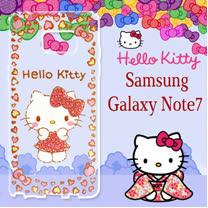 三麗鷗授權 Hello Kitty 凱蒂貓 Samsung Galaxy Note7 浮雕彩繪透明手機殼(甜心豹紋)