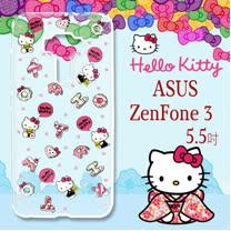 三麗鷗授權 Hello Kitty 凱蒂貓 ASUS ZenFone 3 5.5吋 ZE552KL 浮雕彩繪透明手機殼(繽紛點心)