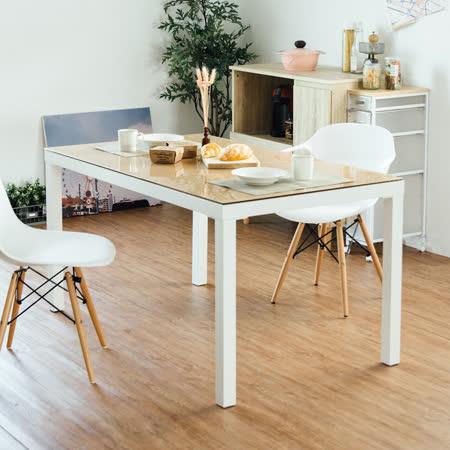 《Peachy life》簡約現代高質感強化玻璃餐桌/辦公桌(3色可選)