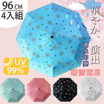 (任選4入)【FL+】自動開合碳纖維抗UV變色晴雨傘(FL-028)-96公分