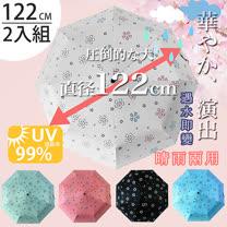 (任選2入)【FL+】超大自動開合碳纖維抗UV變色晴雨傘(FL-029)-120公分