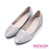 bellwink【B9306GY】璀璨縷空拼縫尖頭包鞋-銀色