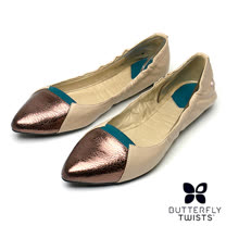 BUTTERFLY TWISTS-IMOGEN可折疊扭轉芭蕾舞鞋-裸膚/銅金色