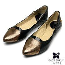 BUTTERFLY TWISTS-IMOGEN可折疊扭轉芭蕾舞鞋-黑/古金色
