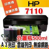 HP Officejet 7110 A3無線網路高速印表+有線連續供墨(寫真墨水+外瓶500ML)