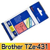 Brother TZe-431 護貝標籤帶 12mm 紅底黑字