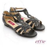【effie】悠閒渡假 全真皮交叉編織平底涼鞋(黑)
