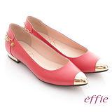 【effie】俏麗悠活 全真皮妝點金屬鍊平底鞋(橘紅)
