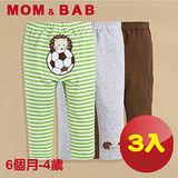 (購物車)【MOM AND BAB】刺蝟足球純棉休閒長褲-三件組(6M-4T)
